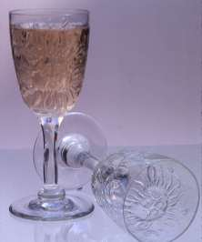 "These glasses are still-blown in a bronze mold which I had cast using the ""cire perdue-lost wax"" technique"